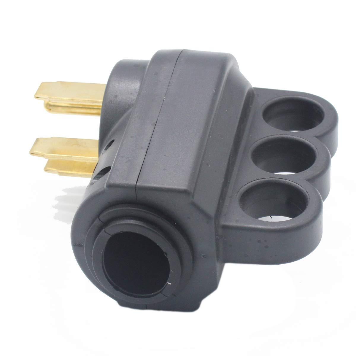 X-Haibei RV 50A Female Replacement Plug Black 125V//250V Connector Heavy Duty Handle