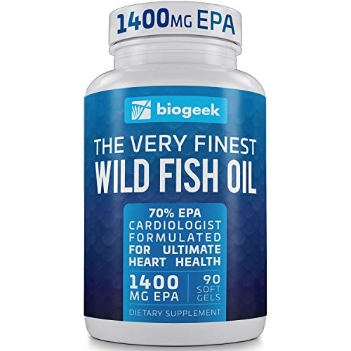 BIOGEEK Omega 3 Fish Oil Supplement, Max Heart Health, Highest EPA 1400mg Easy-Swallow Burpless Pearls, Promotes Skin, Eyes, Brain & Joint Health - Non GMO Softgels (120 Count)