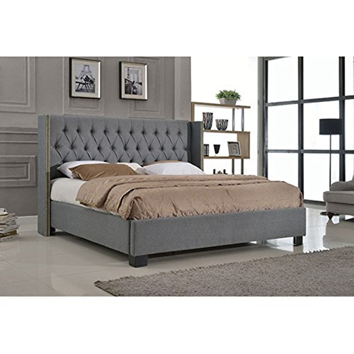 Milton Greens Stars Upholstered PU Platform Bed with European Slat Kit (Eastern King: 85.5 in. L x 85 in. W x 56 in. H)
