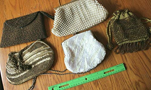 Beaded purse Lot of 5 evening bags Glass beads La Regale Sequin Faux Pearls