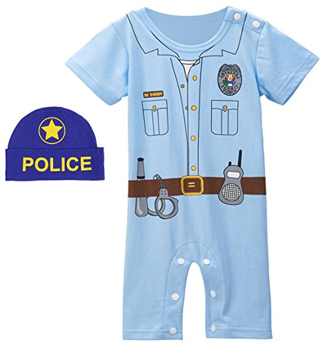 Mombebe Baby Boys' Cop Costume Romper With Hat (0-6 Months, Cop) -