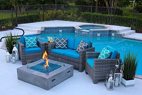 AKOYA Outdoor Essentials 4 Piece 42″ x 42″ Square Modern Concrete Fire Pit Table in Gray w/Outdoor Patio Furniture Set by (Caribbean Blue)