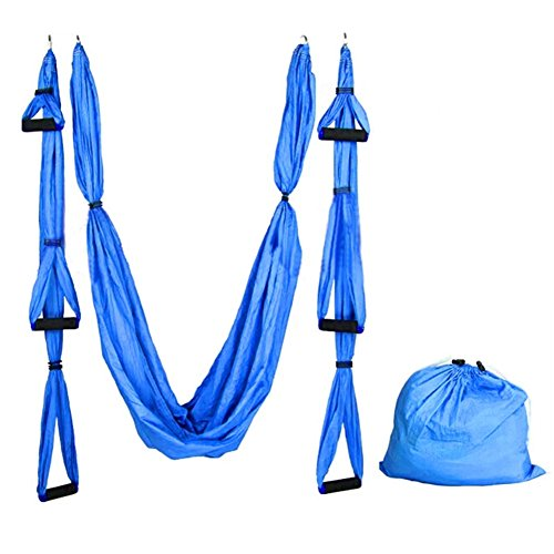 Aneil Anti Gravity Yoga Swing Inversion Sling Aerial Flying Hammock (Blue) - G Tube Protective Belt