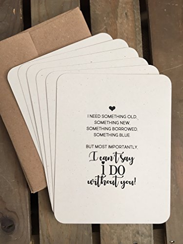 I can't say I DO without YOU - Will you be my Bridesmaid - Maid or Matron of Honor - Junior Bridesmaids - Flower Girl - Set of 6 Flat Notecards - Wedding Bridal Party Proposal - Eco Friendly