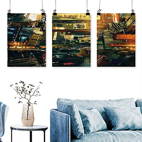 SCOCICI1588 3-Piece Modern of a Metropolitan Colorful Lights in a Traffic Jam Image Photograph Print On Canvas No Frame 12 INCH X 16 INCH X 3PCS