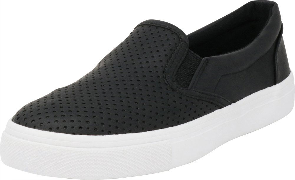 Cambridge Select Women's Slip-On Closed Round Toe Perforated Laser Cutout White Sole Flatform Fashion Sneaker B07F97PT62 11 B(M) US|Black Pu/White Sole