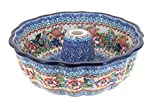 Blue Rose Polish Pottery Hummingbird Bundt Pan