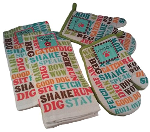 Dogs Rule - Dog Lovers Kitchen Gift Bundle of 4 Items: 2 Dish Towels and 2 Pot Holders (Canine Word (Dog Lovers Pot Holder)