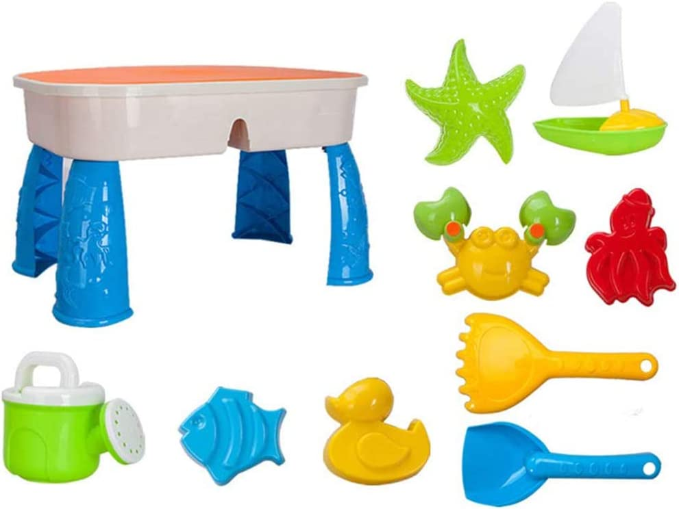 xxz Mesa de Agua de Arena con Tapa, Mesa de Juego de Agua de Arena 2 en 1, Incluye 9 Juguetes de Playa, para niños de 3 a 5 años, la Mejor