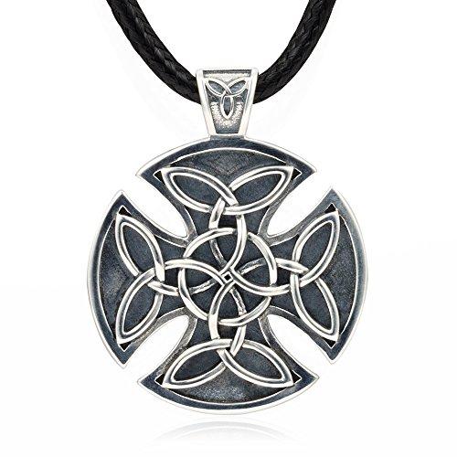 MANBU 925 Sterling Silver Unique Celtic Knot Charm Circular Cross Pendant Necklace Men Father (Celtic Knot Pendant Charm)