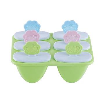 Juego de 6 moldes reutilizables para hacer paletas de hielo Pawaca Kitchen Love Smiley, moldes