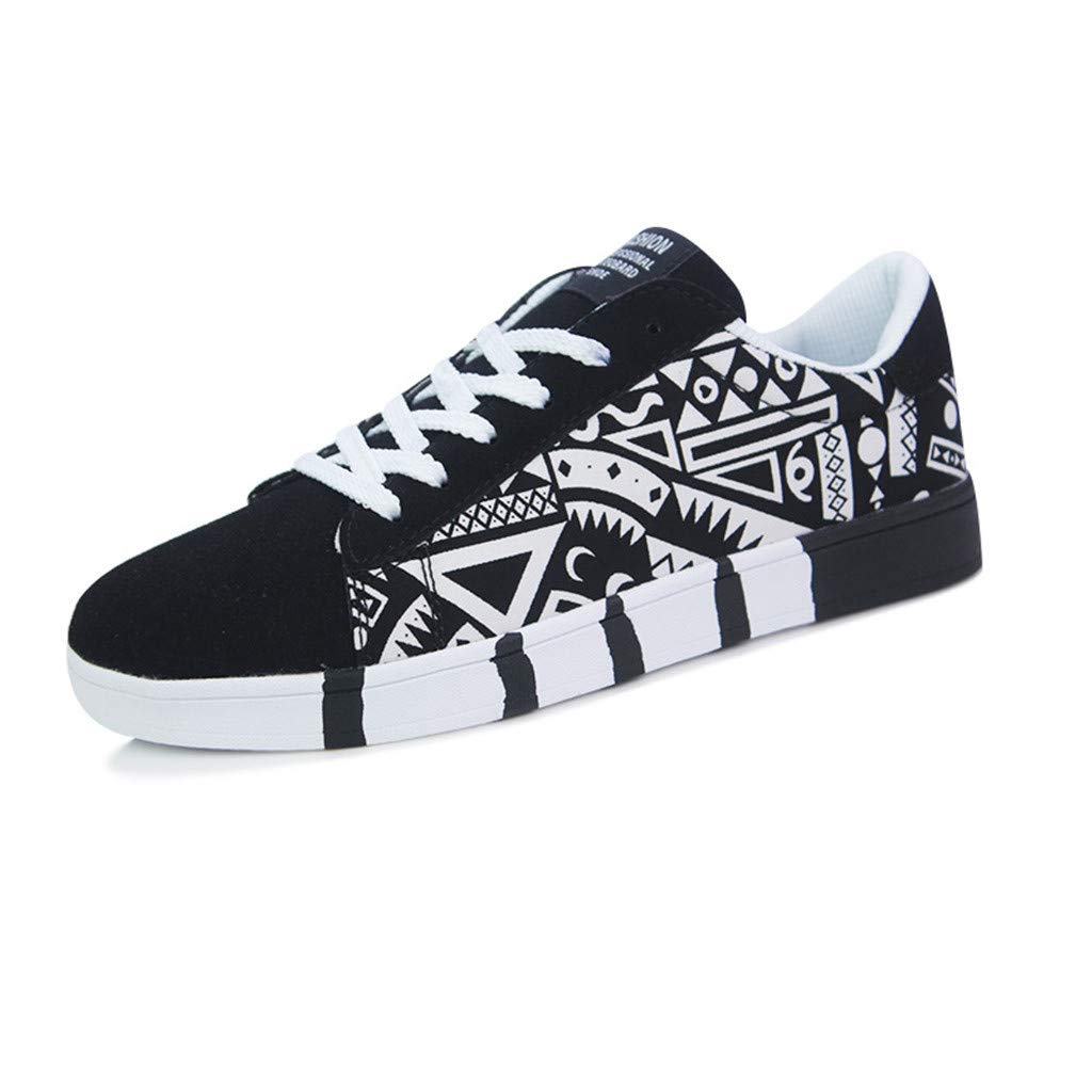 Men's Athletic Shoes Men's Casual Trend Breathable Sneakers Graffiti Lace-Up Canvas Walking Shoes Cloth Shoes