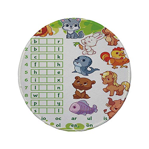Non-Slip Rubber Round Mouse Pad,Word Search Puzzle,Rebus Game with Animals for Preschool Kids Find Correct Part of Words Decorative,Multicolor,7.87