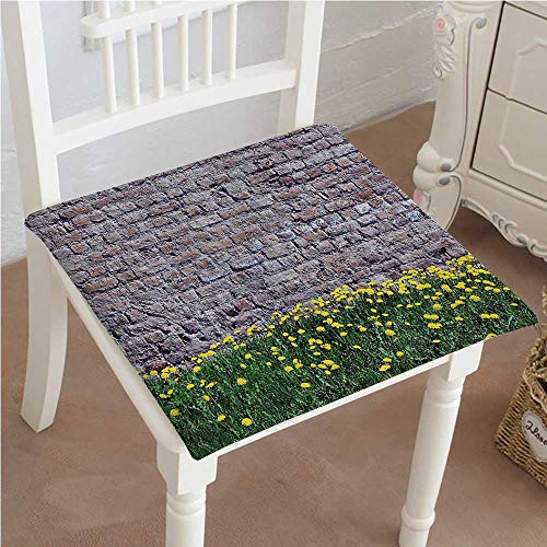 Mikihome Dining Chair Pad Cushion Rustic Dandelion with Style Brick Wall Meadow Fashions Indoor/Outdoor Bistro Chair Cushion (Brick Vinyl Ottoman)