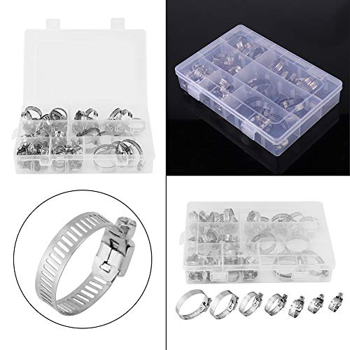 Fdit 50pcs Stainless Steel Hose Clamps Adjustable Tube Clamps Clip Lock Assortment Set for Plumping Piping10 Kinds of Size by Fdit (Image #8)