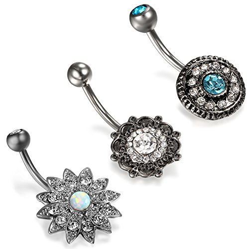 Aroncent 3 Pcs Stainless Steel Zirconia Belly Button Body Piercing Barbell for Women Girls (1 Cent Belly Button Rings)