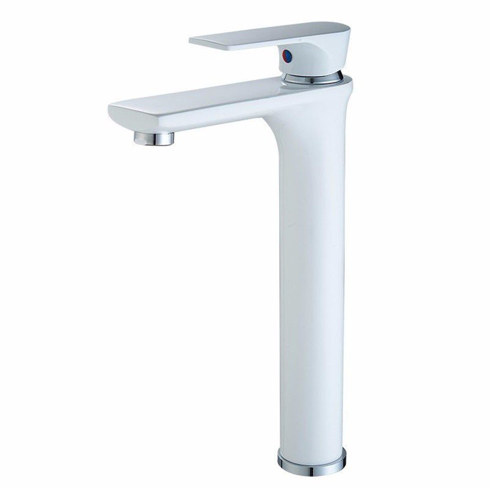 White Heightening Bathroom Sink Taps All Copper Chrome Plated Single Handle, Single Hole Bathroom Sink, Basin Taps, Hot And Cold Water,Silver Heightening