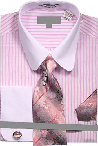 Stripe Shirt Dress (Sunrise Outlet Men's Pinstripe Dress Shirt with Tie Handkerchief Cufflinks - Pink 18.5 36-37)