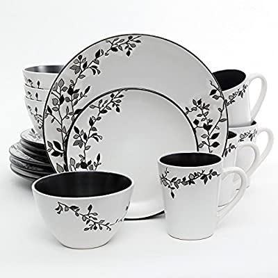 Click for Gibson Elite 16 Piece Stoneware with Wax Relief Germaine Dinnerware Set, White