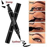 Dual End Black Liquid Eyeliner Pencil Pro Waterproof Long Lasting Makeup Eye Liner Pen Cat Line Eye Makeup Stencils 二元的のブラックリキッドアイライナーペンシル・防水性ロングラスティングメイクアイライナーペン・キャットラインアイメイクアップステンシル