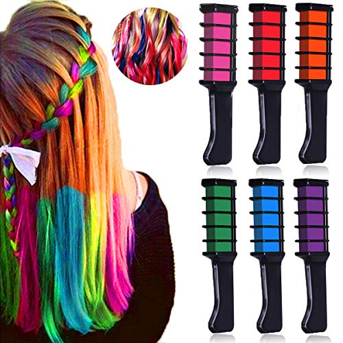 (Temporary Hair Chalk Birthday Gifts for Girls, MSDADA Kids Hair Color Dye, Non-Toxic Washable Hair Dye Colors for St Patricks Day,Party, Cosplay, Concert, Gifts for Girls Kids & Adults,6)