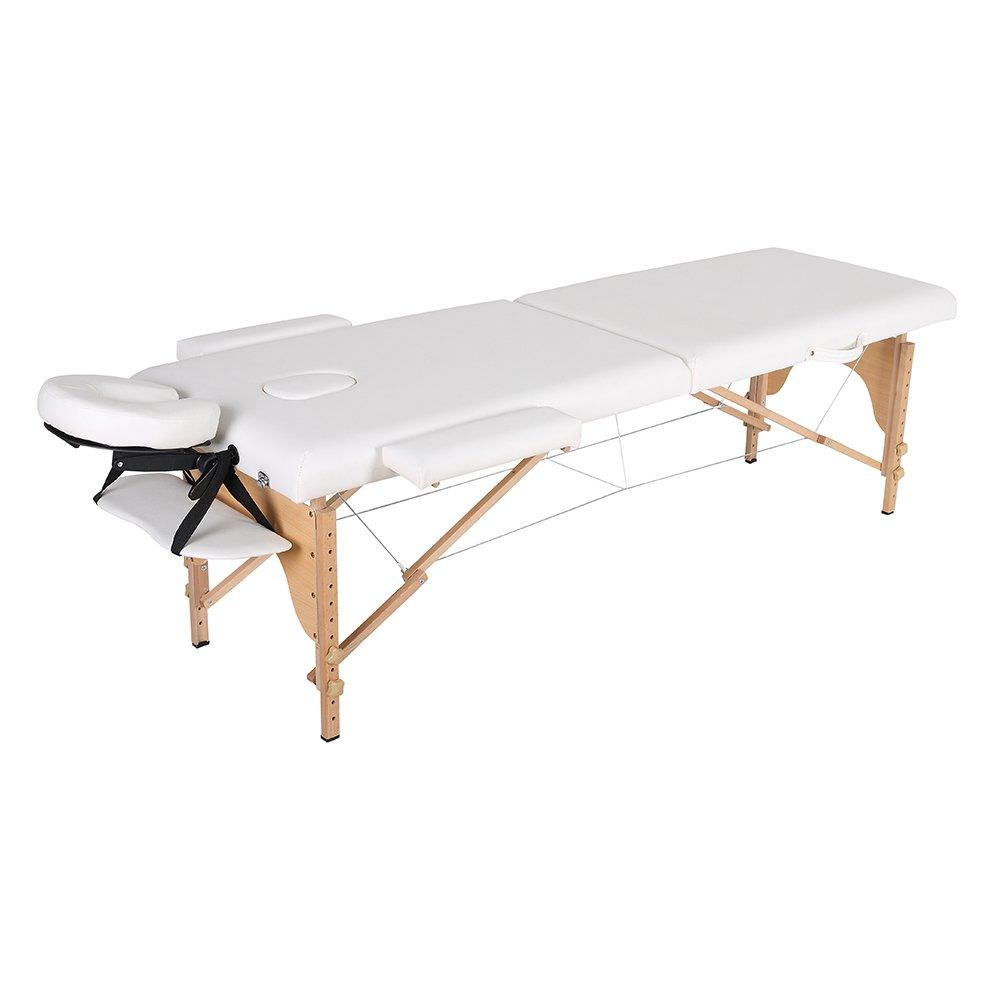 everso マッサージベッド 折りたたみ (木製有孔) 折りたたみベッド ポータブルベッド 整体ベッド マッサージ台 コンパクトサイズ エステベッド マッサージおしゃれ 長さ185×幅70 (ホワイト) B07DYRS9WN ホワイト ホワイト