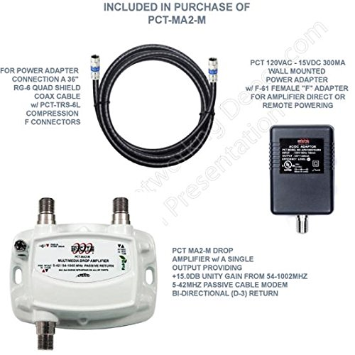 """- AMPLIFIER, CATV & OTA SUBSCRIBER PREMISE SINGLE (1) OUTPUT 15dB GAIN 5-1002Mhz w/ 36"""" COAXIAL JUMPER & AC/DC """"POWERING BRICK"""""""