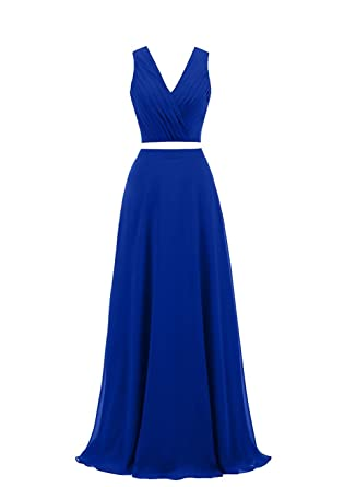 2 Piece Mermaid Prom Dresses 2018 Long Beaded Formal Evening Party Dresses L236 Royal Blue US14