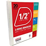 3 Ring Binders, 0.5 Inch Slant-D Rings, White, Clear View, Pockets - 20 Pack