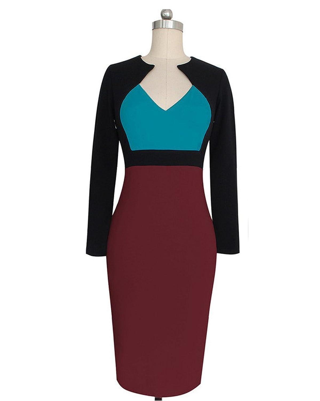 SaiDeng Damen Karree-Ausschnitt Knielangkleid Retro Cocktail Kleider  Business Abendkleider: Amazon.de: Bekleidung