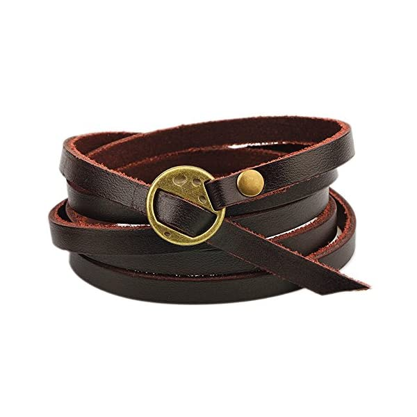 Retro Brown Five laps Men Gothic Top Leather Bracelets & Bangles Steampunk Charm Bracelets Couple Part Gifts 3