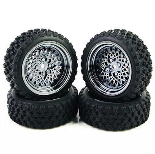Ruixunte 4 Pcs RC 1:10 Off Road Car Rubber Tires Wheel Rim Rally Racing For HSP HPI