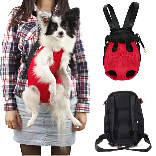 Sunwize Pet Legs Out Front Style Mesh Pet Carrier Nylon Red Backpack