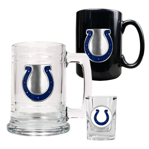 NFL Indianapolis Colts 15-Ounce Tankard, 15-Ounce Ceramic Mug & 2-Ounce Shot Glass Set - Primary Logo