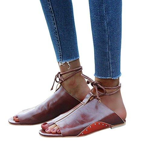 Rojo Minetom Moda Casual Otoño Zapatilla De Peep Verano Cordones Romanas Mujer Pu Toe Zapatos Plataforma Sandalias Planas aqrwFaU