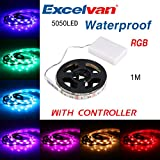 Excelvan 1M/3.3FT IP65 Waterproof Flexible Color Changing RGB SMD 5050 30 LEDs DC 5V Battery-powered LED Strip Light with Mini Controller