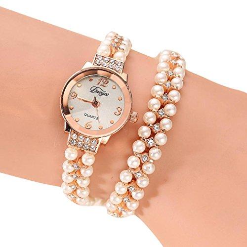 Hunputa Women Gold Pearl Jewelry Steel Bracelet Wristwatch Women Female Ladies Crystal Casual Fashion Watch (B)