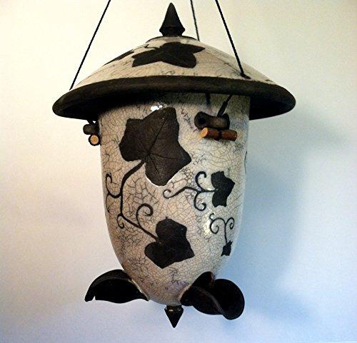 Ivy Design Raku Birdfeeder by Ring of Fire Pottery