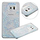 Galaxy S6 Edge Plus Case, TIPFLY Flowing Liquid Floating Luxury Bling Glitter Sparkle Cover with Love Heart Powder, Clear Dual Layer Hard Plastic Case for Samsung Galaxy S6 Edge Plus - Blue
