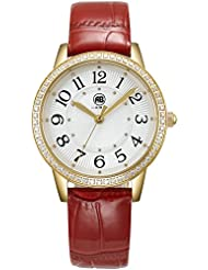 AIBI Womens Watch Quartz Red Leather Strap Waterproof Watches For Lady With 34mm Case
