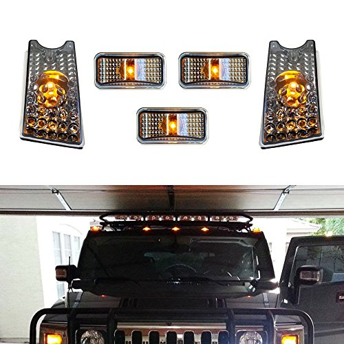 ijdmtoy-5pc-set-black-smoked-lens-front-cab-roof-top-marker-running-lamps-w-amber-led-lights-for-200