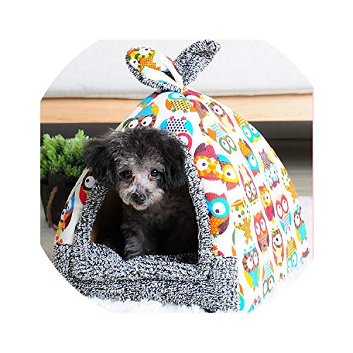 ZZmeet Soft Pet Yurt Nest Dog Bed Puppy Kennel for Dogs Cat Tent Small Animals Home Dog House with Mat All Seasons Chihuahua Cushion,C5,41x41x46cm