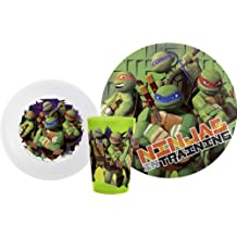Zak! Designs Mealtime Set with Plate, Bowl and Tumbler featuring the Teenage Mutant Ninja Turtles, Break-resistant and BPA-free plastic, 3 Piece Set