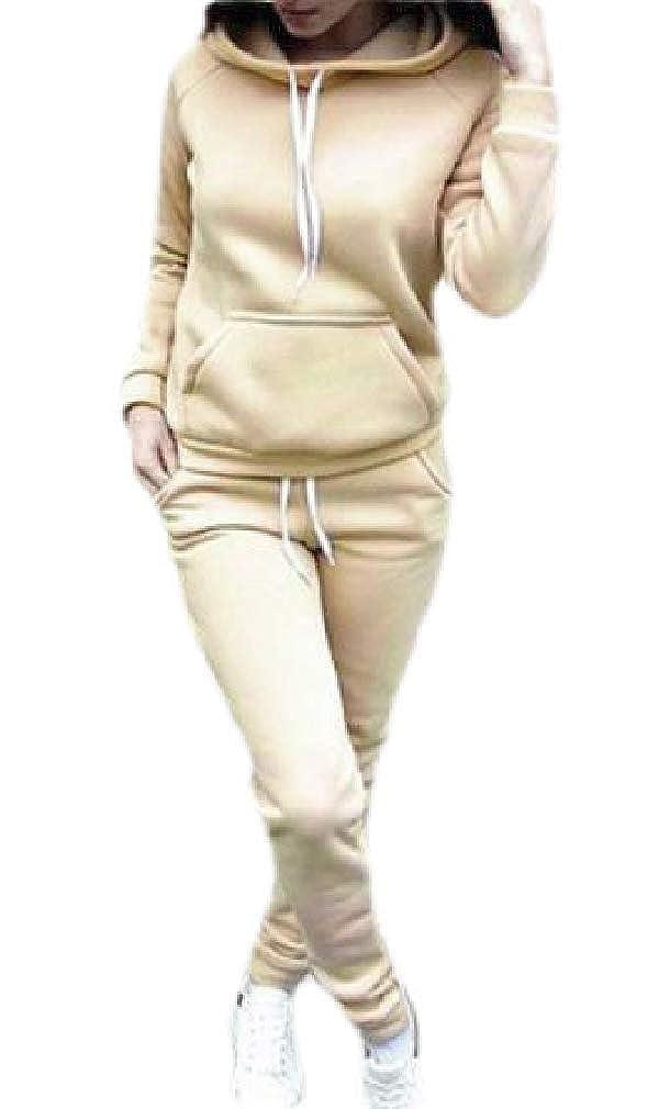 Hajotrawa Womens Pocket Drawstring Casual Tracksuit Pullover Hooded Sweatshirts