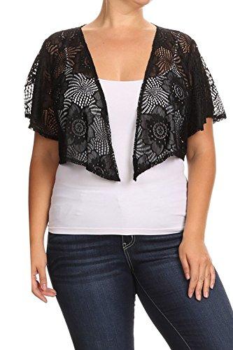 Modern Kiwi Lace Cascading Short Sleeve Bolero Cardigan Black Lace 3X