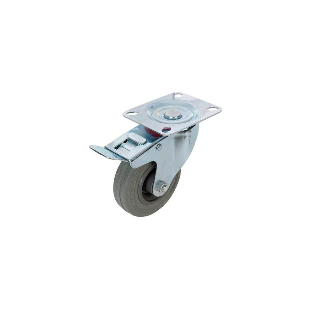 50/kg Fixman Roulette pivotante en caoutchouc avec frein 50/mm