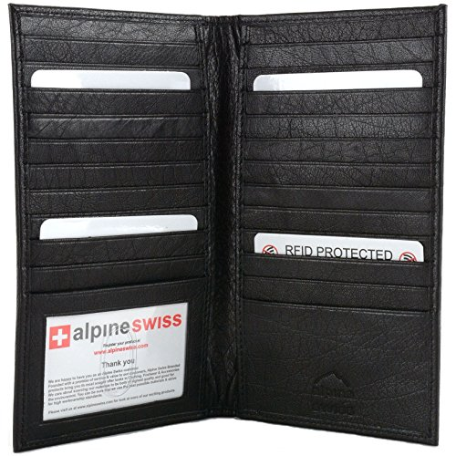 Check Leather Wallet (Alpine Swiss Mens Leather RFID Blocking Deluxe Credit Card Case Wallet Black)