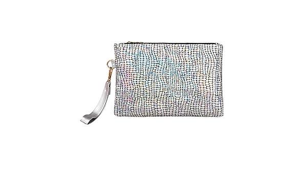 OneMoreT - Bolso de mano de poliuretano brillante con lentejuelas para mujer, con brillantes, para fiestas, con sobres elegantes y con purpurina, ...