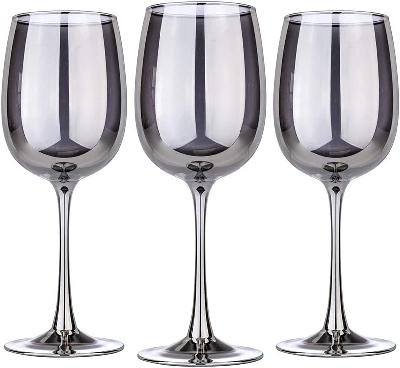 Graphite 14-Ounce Wine Glasses, Elegant Wine Glass Set for Red and White Wines, Great Gift for Men and Women, Present Idea for Wedding, Anniversary, Birthday, Set of 3