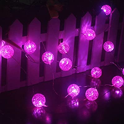Ryham Battery Operated Crystal Ball String Lights Beaded Curtain Lights 16 LED 7.38ft 2.25M Fairy Globe Bubble Decor Lighting for Outdoor Indoor Patio Party Bedroom Christmas Seasonal Decorations,Pink